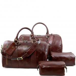 Tuscany Leather TL141256 Colombo - Set da viaggio in pelle Marrone