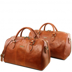 Tuscany Leather TL141659 Lisbona - Set da viaggio in pelle Miele