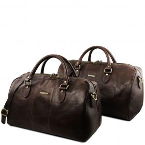 Tuscany Leather TL141659 Lisbona - Leather travel set Dark Brown