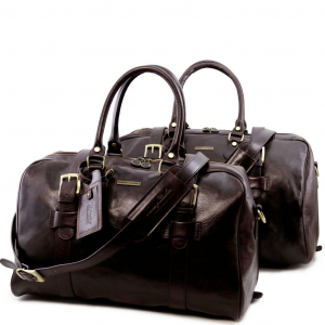 Tuscany Leather TL141257 Vespucci - Set da viaggio in pelle Testa di Moro