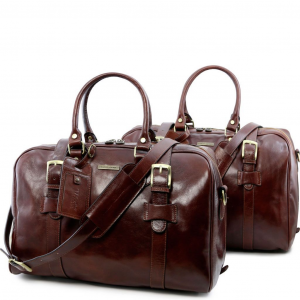 Tuscany Leather TL141257 Vespucci - Ensemble de voyage en cuir Marron