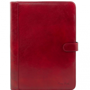Tuscany Leather TL141275 Adriano - Portadocumenti in pelle chiusura con bottone Rosso