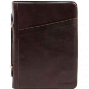 Tuscany Leather TL141404 Claudio - Exclusif conférencier en cuir avec poignée Marron foncé