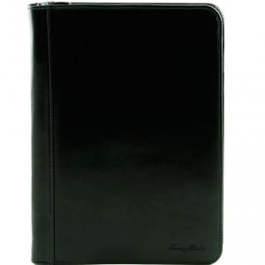 Tuscany Leather TL141287 Luigi XIV - Porte-document en cuir avec fermeture glissière Noir