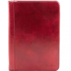 Tuscany Leather TL141287 Luigi XIV - Porte-document en cuir avec fermeture glissière Rouge