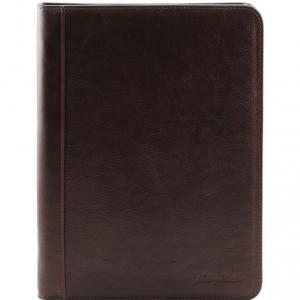 Tuscany Leather TL141293 Lucio - Exclusif porte-document en cuir avec anneaux Marron foncé