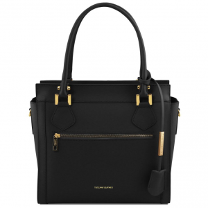 Tuscany Leather TL141644 Lara - Sac à main en cuir avec zip frontal Noir
