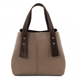 Tuscany Leather TL141730 TL Bag - Leather shopping bag Dark Taupe