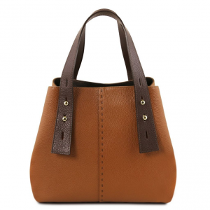 Tuscany Leather TL141730 TL Bag - Sac shopping en cuir Cognac