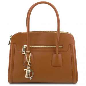 Tuscany Leather TL141285 TL Keyluck - Sac à main en cuir souple Cognac