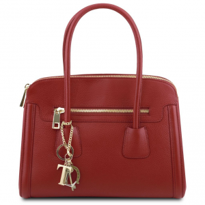 Tuscany Leather TL141285 TL Keyluck - Sac à main en cuir souple Rouge