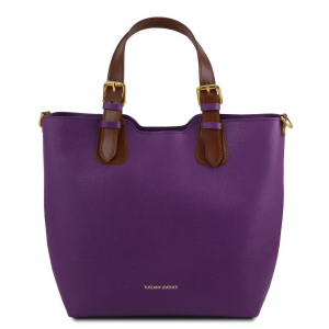 Tuscany Leather TL141696 TL Bag - Saffiano leather handbag Purple