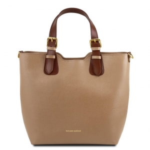 Tuscany Leather TL141696 TL Bag - Sac à main en cuir Saffiano Caramel