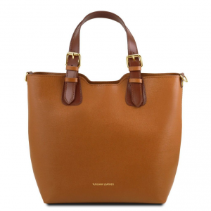 Tuscany Leather TL141696 TL Bag - Sac à main en cuir Saffiano Cognac