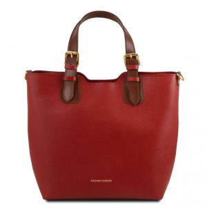 Tuscany Leather TL141696 TL Bag - Sac à main en cuir Saffiano Rouge