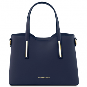 Tuscany Leather TL141521 Olimpia - Leather tote - Small size Dark Blue