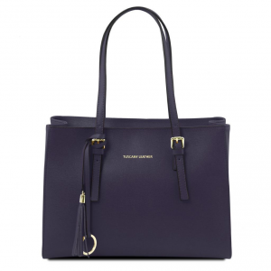 Tuscany Leather TL141518 TL Bag - Saffiano leather handbag Dark Blue