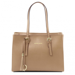 Tuscany Leather TL141518 TL Bag - Sac à main en cuir Saffiano Caramel