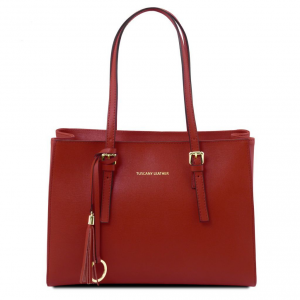 Tuscany Leather TL141518 TL Bag - Sac à main en cuir Saffiano Rouge