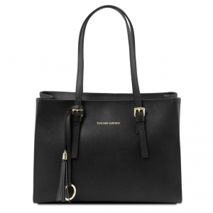 Tuscany Leather TL141518 TL Bag - Saffiano leather handbag Black