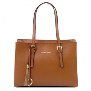 Tuscany Leather TL141518 TL Bag - Saffiano leather handbag Cognac