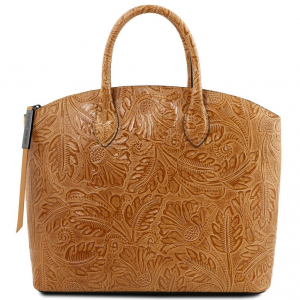 Tuscany Leather TL141670 Gaia - Leather tote with floral pattern Cognac