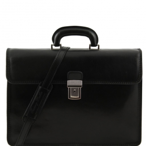 Tuscany Leather TL10018 Parma - Leather briefcase 2 compartments Black