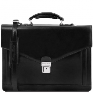 Tuscany Leather TL141544 Volterra - Leather briefcase 2 compartments Black