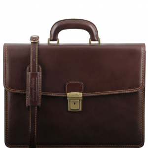 Tuscany Leather TL141351 Amalfi - Leather briefcase 1 compartment Dark Brown