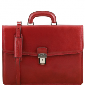 Tuscany Leather TL141351 Amalfi - Leather briefcase 1 compartment Red