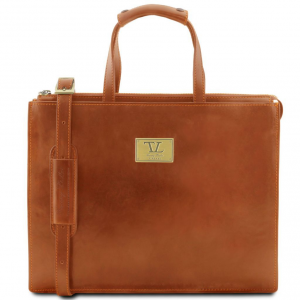 Tuscany Leather TL141343 Palermo - Leather briefcase 3 compartments for woman Honey
