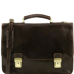 Tuscany Leather TL10028 Firenze - Leather briefcase 2 compartments Dark Brown
