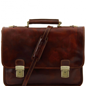 Tuscany Leather TL10028 Firenze - Leather briefcase 2 compartments Brown
