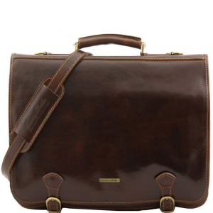 Tuscany Leather TL10025 Ancona - Leather messenger bag - Large size Dark Brown