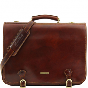 Tuscany Leather TL10025 Ancona - Leather messenger bag - Large size Brown