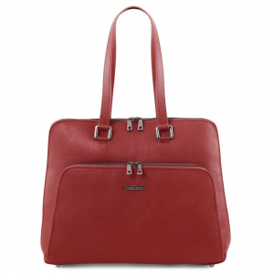 Tuscany Leather TL141630 Lucca - TL SMART business bag in soft leather for women Red