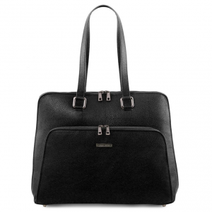 Tuscany Leather TL141630 Lucca - TL SMART business bag in soft leather for women Black