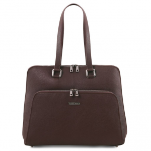 Tuscany Leather TL141630 Lucca - TL SMART business bag in soft leather for women Dark Brown