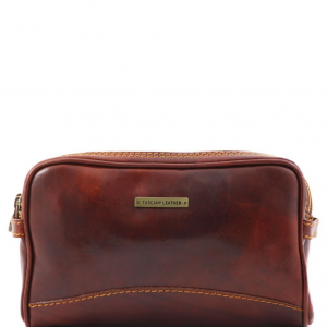 Tuscany Leather TL140850 Igor - Leather toilet bag Brown