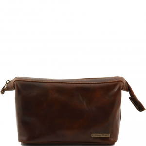 Tuscany Leather TL140979 Ronny - Leather toilet bag Brown