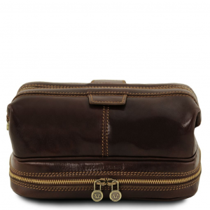 Tuscany Leather TL141717 Patrick - Trousse de toilette en cuir Marron foncé