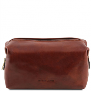Tuscany Leather TL141219 Smarty - Trousse de toilette en cuir - Grand modèle Marron