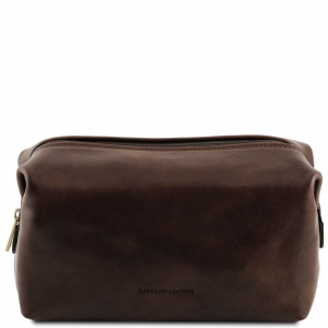 Tuscany Leather TL141219 Smarty - Trousse de toilette en cuir - Grand modèle Marron foncé