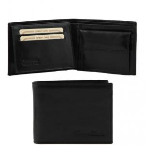Tuscany Leather TL140763 Esclusivo portafoglio uomo in pelle 3 ante con portaspiccioli Nero