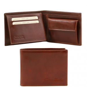 Tuscany Leather TL140763 Esclusivo portafoglio uomo in pelle 3 ante con portaspiccioli Marrone