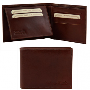 Tuscany Leather TL140760 Exclusive leather 3 fold wallet for men Brown