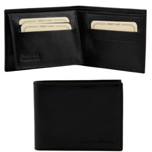 Tuscany Leather TL140760 Exclusive leather 3 fold wallet for men Black