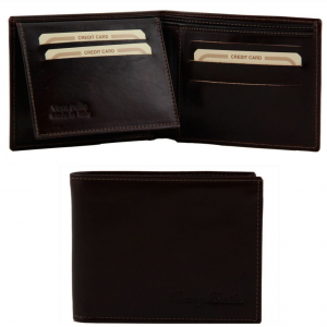Tuscany Leather TL140760 Exclusive leather 3 fold wallet for men Dark Brown
