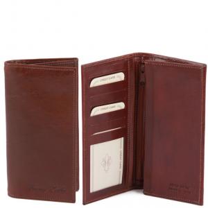 Tuscany Leather TL140777 Esclusivo portafoglio verticale in pelle uomo 2 ante Marrone
