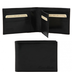 Tuscany Leather TL140817 Exclusive leather 3 fold wallet for men Black